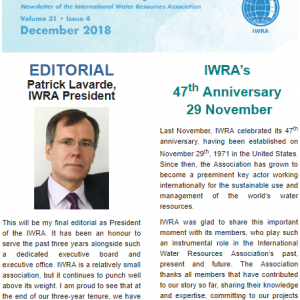 IWRA Newsletter Editorial – December 2018