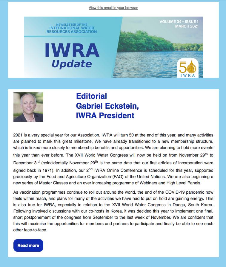 IWRA Update, March 2021